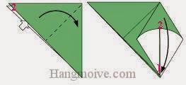 Bước 3: Từ vị trí mũi tên: Mở tờ giấy ra, kéo tờ giấy về phía bên phải, gấp tờ giấy xuống sao cho đỉnh 2 trùng với đỉnh 1.