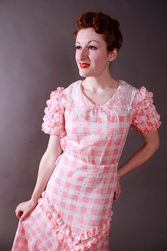1930s Ruffle Check Dress
