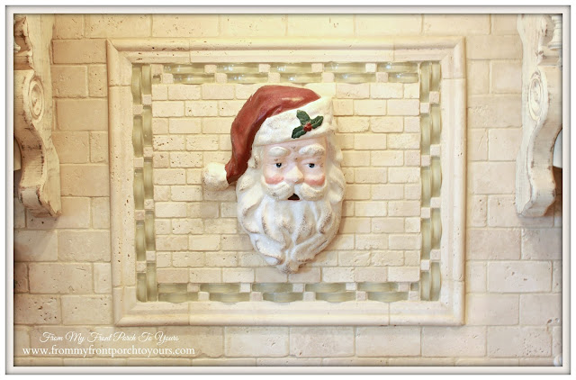 Vintage Farmhouse Christmas Kitchen-Vintage Santa-Above Stove-From My Front Porch To Yours