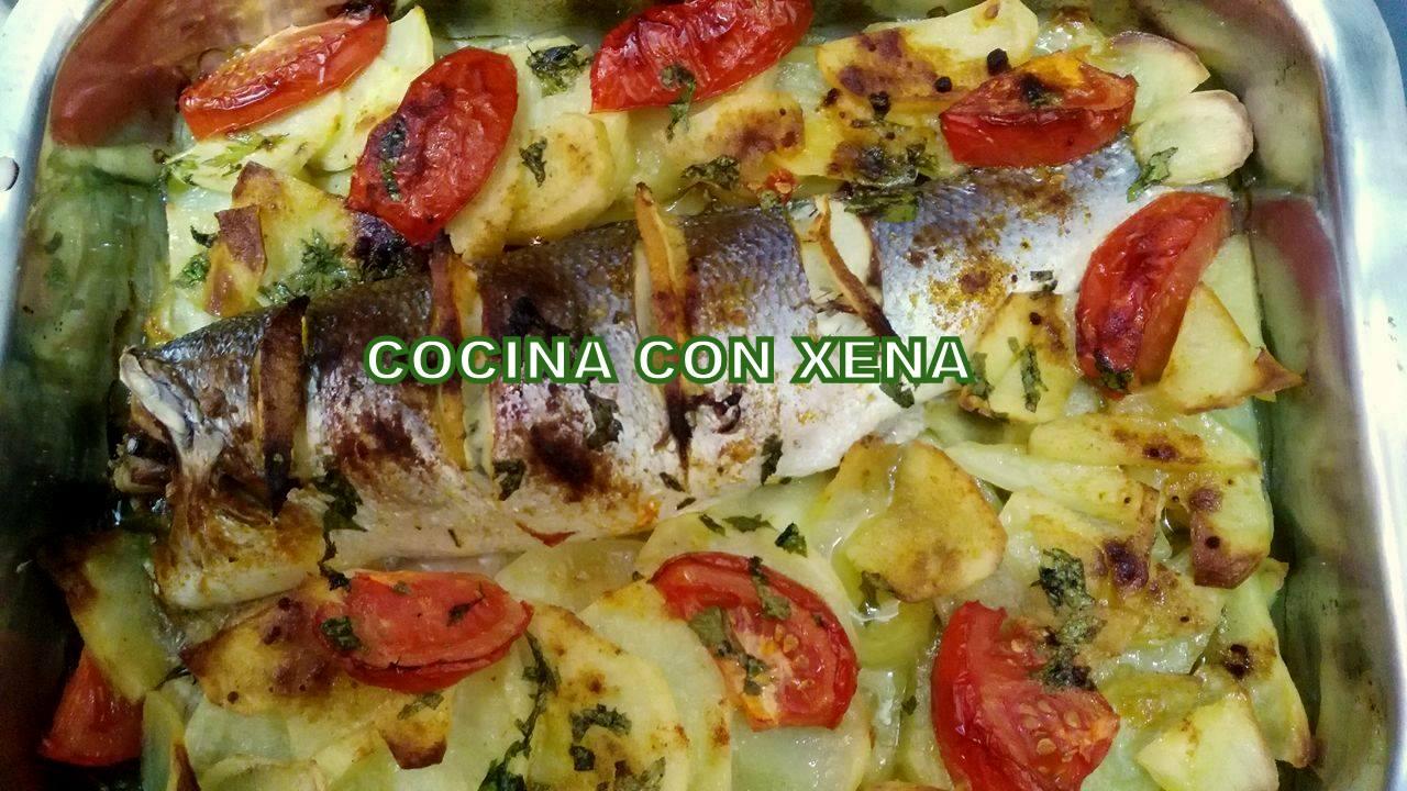 Cocina con xena lubina con patatas al horno - Cocina con horno ...
