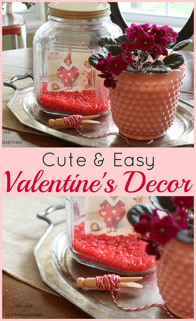 Super cute and easy five minute Valentine's Day craft for your home decor.
