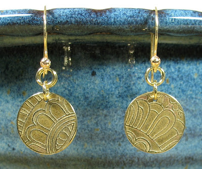 Libellula Jewelry:  Etched brass earrings