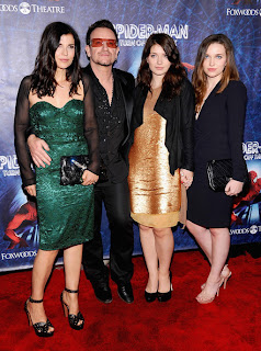 Ali, Bono (Paul), Eve, and Jordan Hewson photographed at the premiere of 
