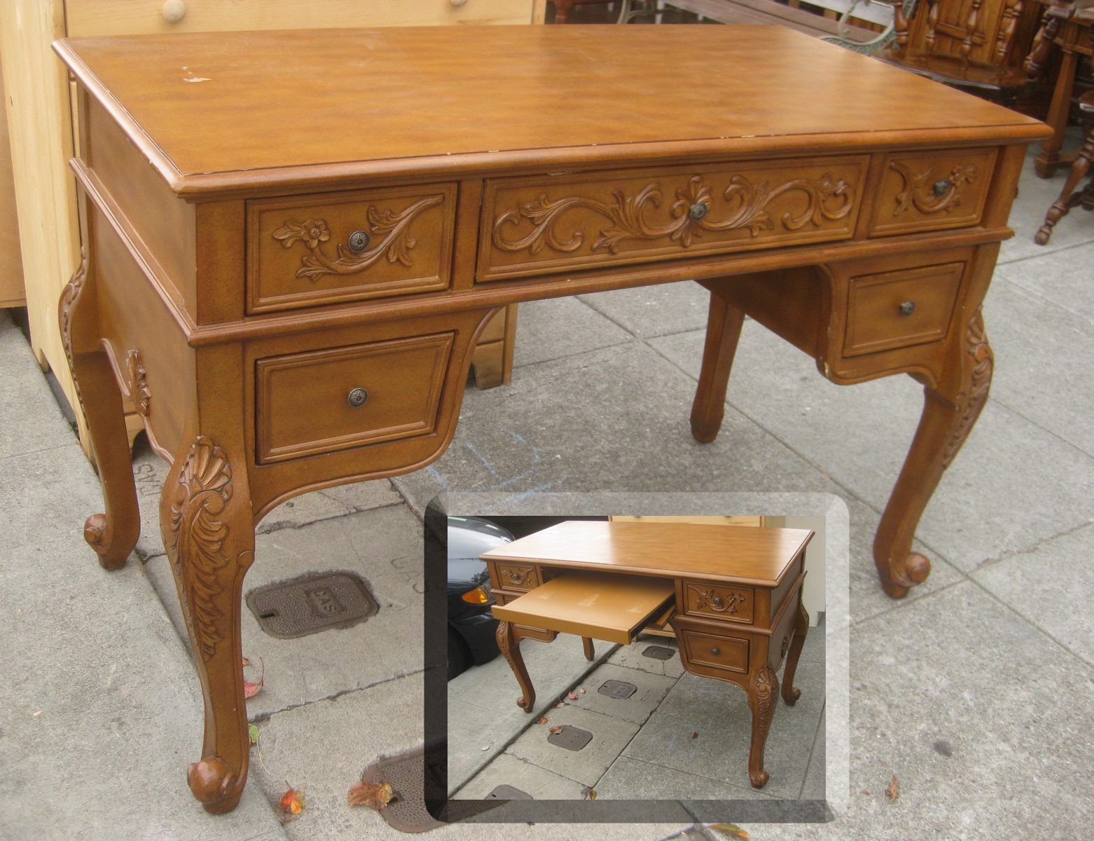 fancy desks executive shaped desk with desktop cherry wood office