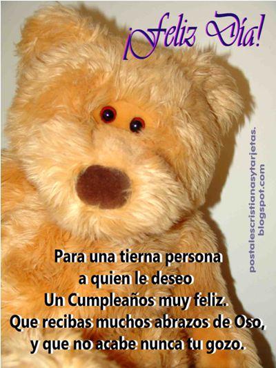 Feliz Cumpleaños con Abrazo de oso. Felicitaciones para amiga, niña, hermana, del facebook, pin, celular, correo, tarjeta. Feliz cumpleaños para una tierna persona. Dedicatoria,felicitación con foto, imagen, fotografía de oso para amiga.