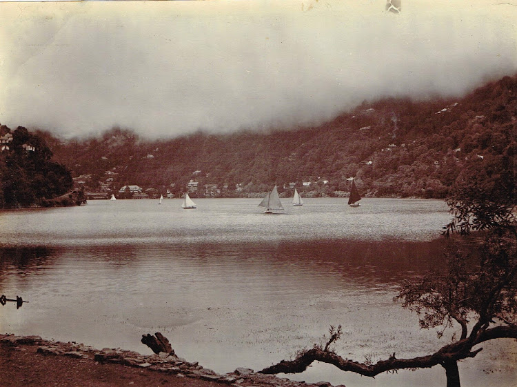 Views fo Nainital Lake in Himalaya -  Uttarakhand, India c1890's