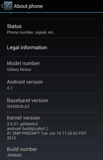 La nuova rom android 4.1 per Galaxy Nexus non ufficiale disponibile per il download
