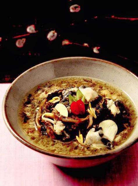 Eel garlic soup herb