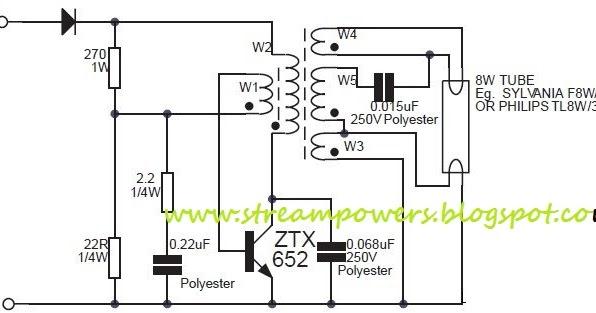 various diagram  8w fluorescent lamp inverter based ztx652 circuit diagram