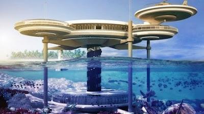 Lakaran artis projek hotel di dasar laut, Water Discus Hotel yang bakal dibina di Dubai, Emiriyah Arab Bersatu