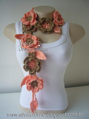 cachecol de flores, flores de croche, cachecol feminino, croche, moda, cachecol azaleia