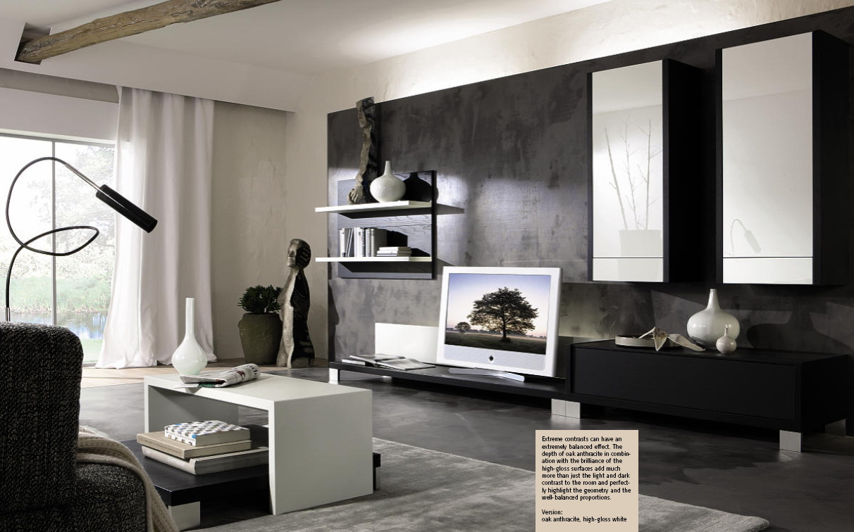 Evim in her ey modern tv niteleri - Grey and black living room pictures ...