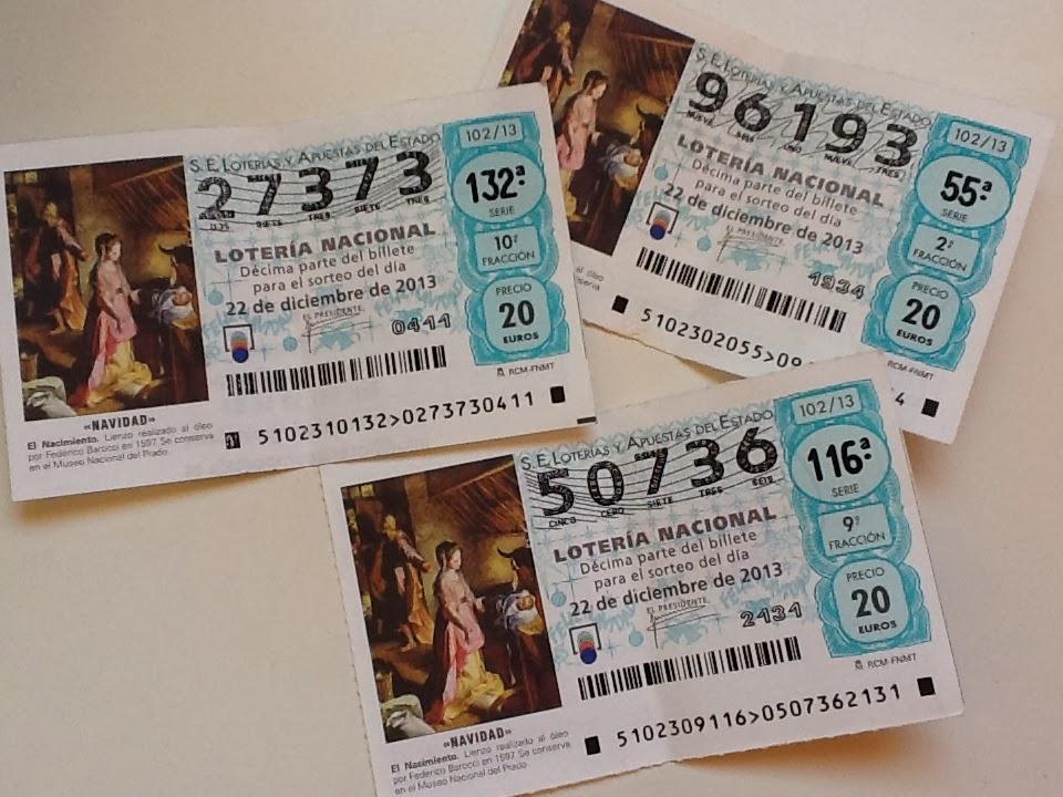 Décimos de Lotería Nacional sorteo de Navidad
