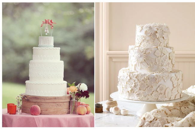 Silver lace add these plain white cakes a touch of shine and a more modern