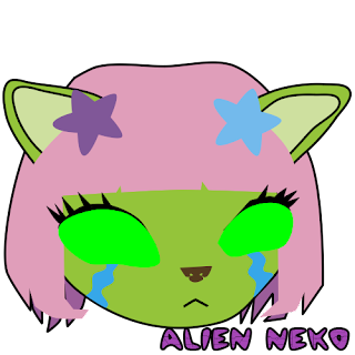 Sad alien neko emoji