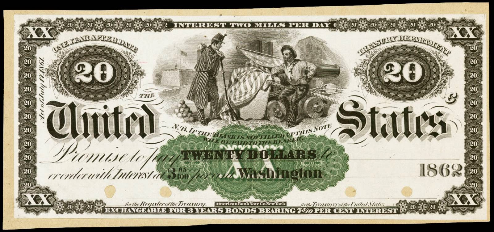 1861 $20 Dollar bill, One Year Interest Bearing Note