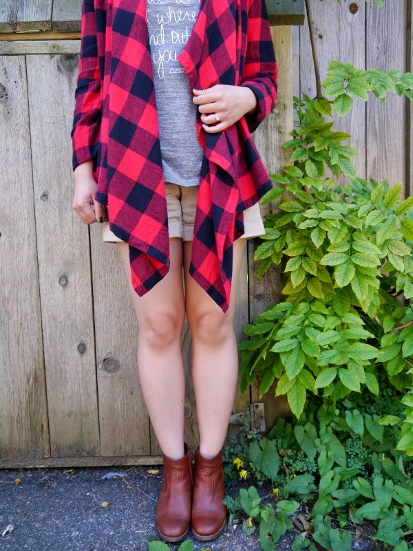 Summer to fall transitional dressing: buffalo plaid wrap, heather grey tank, khaki shorts, cognac leather ankle boots