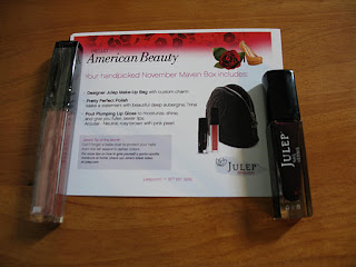 Julep Trina Nail Polish, Julep Lip Gloss Arousal, Julep Maven, Julep Maven box November American Beauty