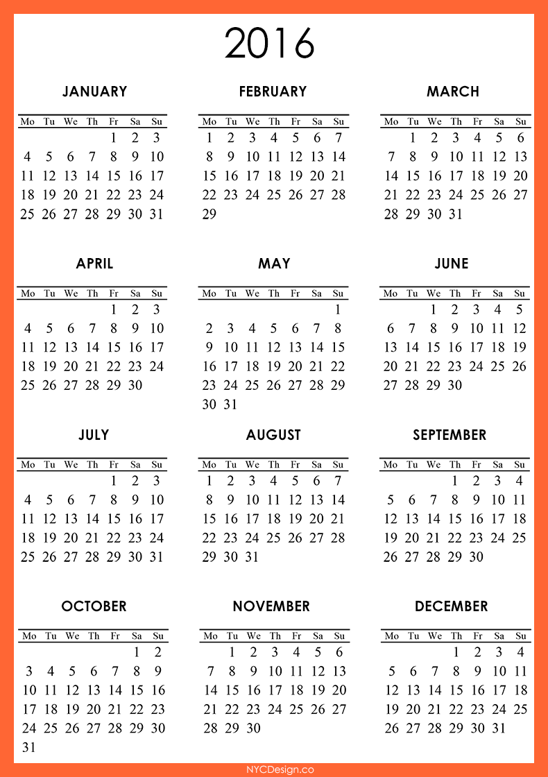 New York, NY: 2016 Calendar - Printable - Free - Orange, Yellow, White