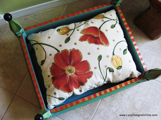painted fabric with flowers