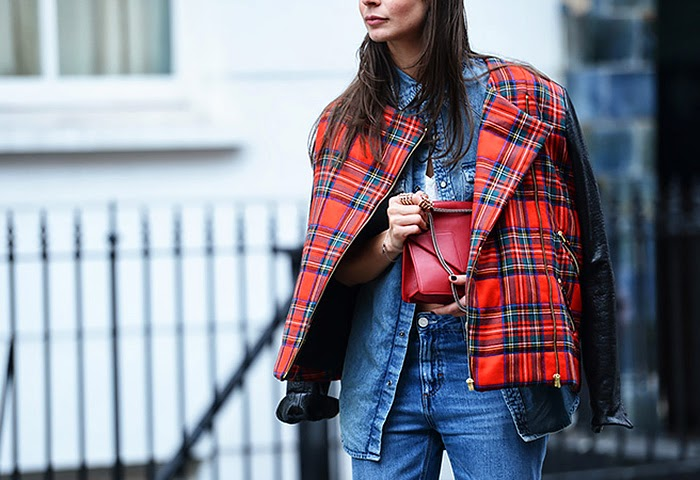 street style fashion week spring 2014, denim, tartan, red