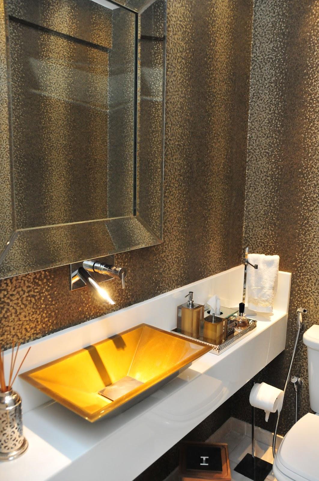 Construindo Minha Casa Clean Banheiros e Lavabos Decorados com Cubas Douradas! -> Cuba Para Banheiro Dourada