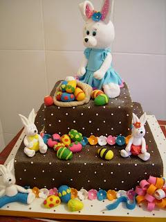 barbara singelo, páscoa, bolo de chocolate, coelhos, ovos