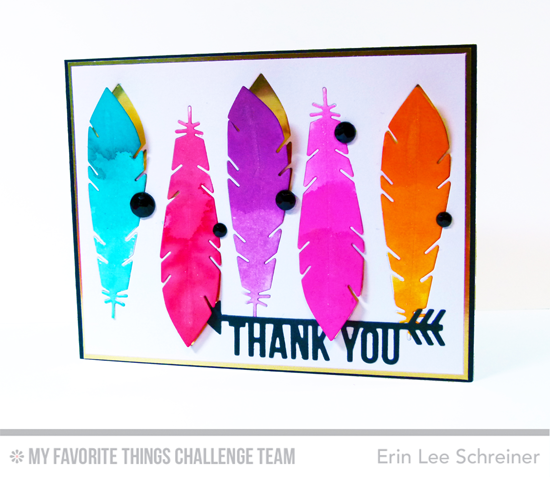 Feathery Thanks Card by Erin Lee Schreiner featuring the Laina Lamb Design Accent It - Feathers and Arrows Die-namics and the Arrow Greetings Die-namics #mftstamps