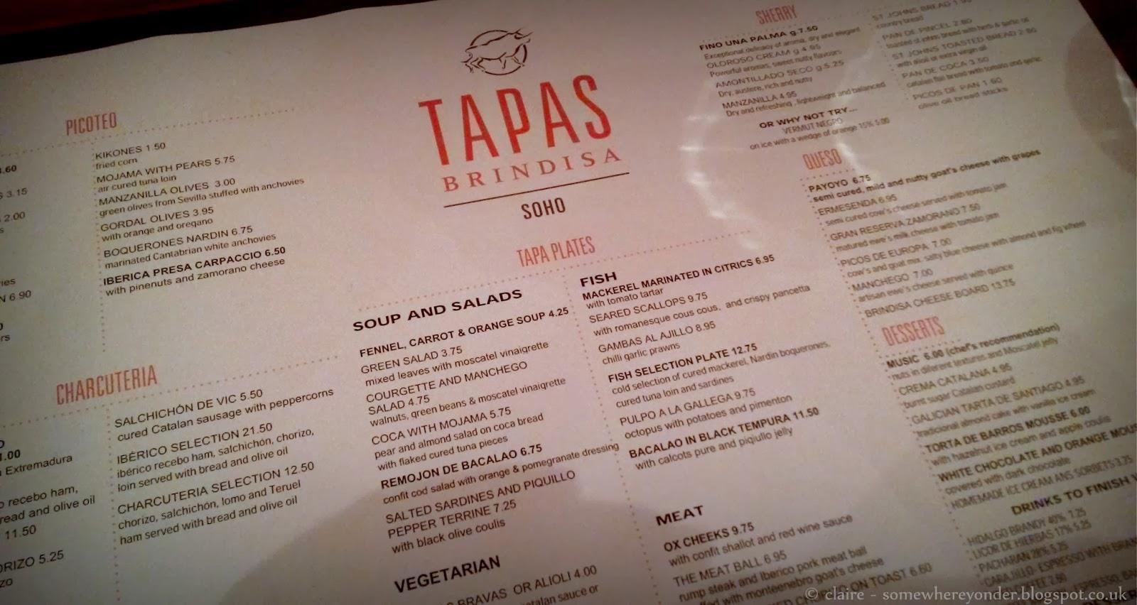 Tapas Brindisa Soho - menu