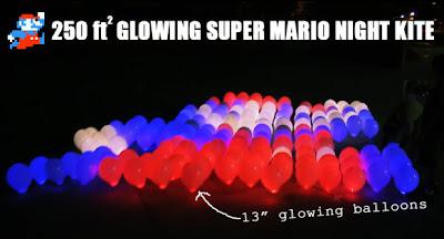 Glowing Super Mario Night Kite using Balloons