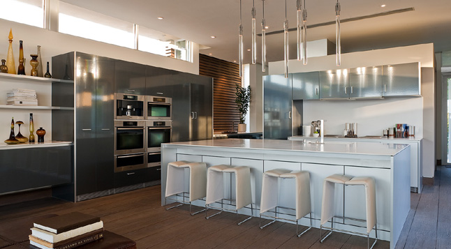 Photo of incredible modern kitchen interiors at Blue Jay Way residence