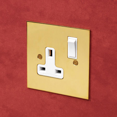 Forbes and Lomax SS13/U 13A switched single socket in Unlacquered Brass