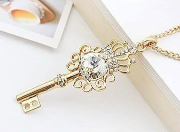 Okajewelry show crown rhinestone key pendant necklace 14k gold plated as soon as i get the crwon design key pendant necklace my eyes were instantly attracted by crystal clear rhinestone set in the 14k gold key pendant aloadofball Image collections