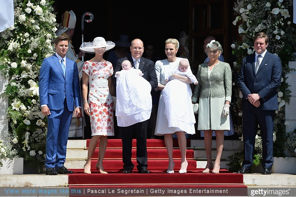 Gareth Wittstock, Nerine Pienaar, Prince Albert II of Monaco, Princess Gabriella of Monaco, Princess Charlene of Monaco, Prince Jacques of Monaco, Diane de Polignac Nigra and Christopher Le Vine Jr attend The Baptism Of The Princely Children at The Monaco Cathedral