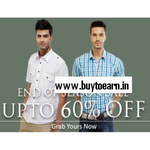 Buy Branded Men's Clothing- Shirt, T-shirt, Jeans and innerwears on Upto 60% OFF + Extra 50% cashback
