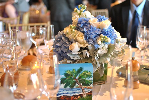 blue and white wedding centerpiece