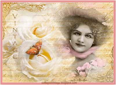 Fondo vintage con rosas blancas y dama victoriana