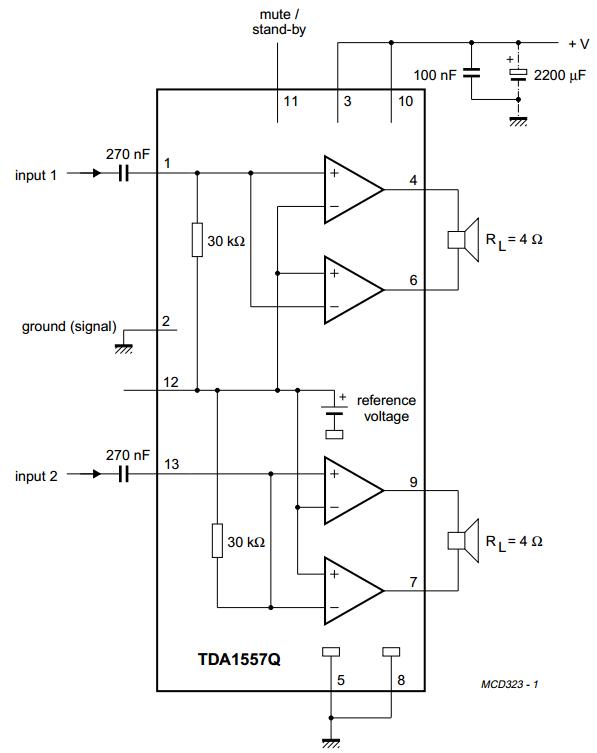 Schematic Diagram TA8210AH 2 x 22W BTL Car Amplifier Circuit