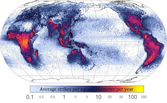 Frequency of Lightning Strikes Throughout the World