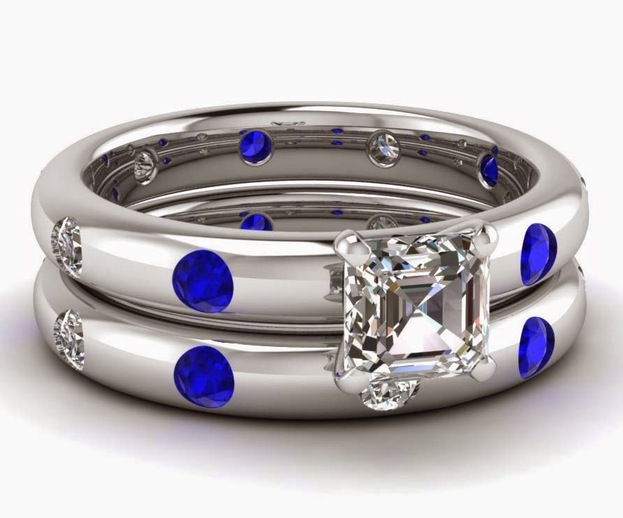 Diamond Wedding Rings Sets Blue & White Design pictures hd