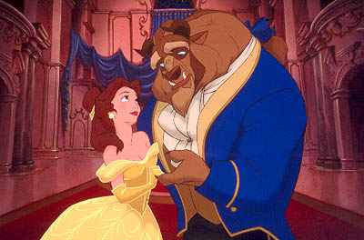 The Beast offering his hand to Belle in Beauty and the Beast