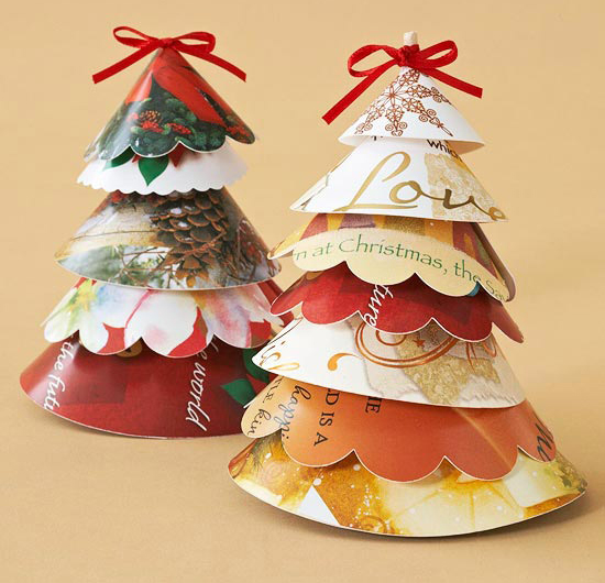 Easy christmas crafts ideas table decoration christmas tree recycle cards