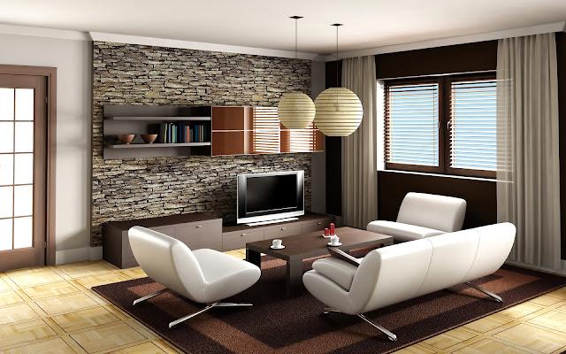 Ściana w kamieniu w salonie
