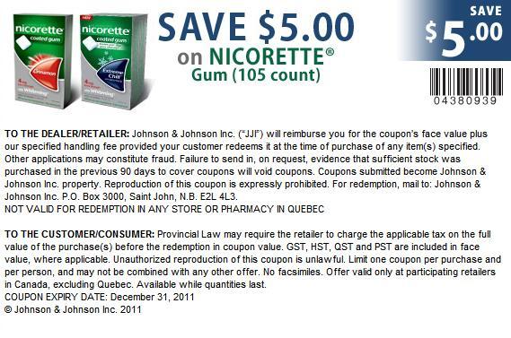 Nicorette gum coupon $15