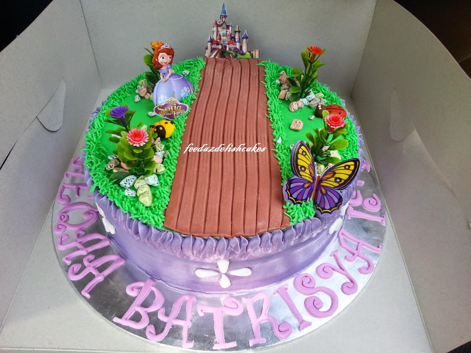 feedazdelishcakes Sofia the First themed cake Moist choc cake with