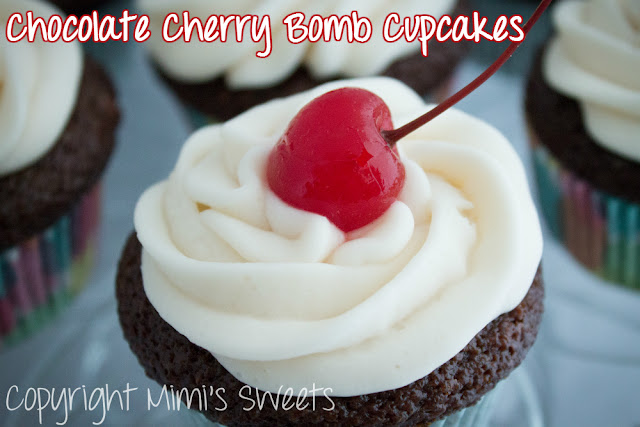 Chocolate Cherry Bomb Cupcakes