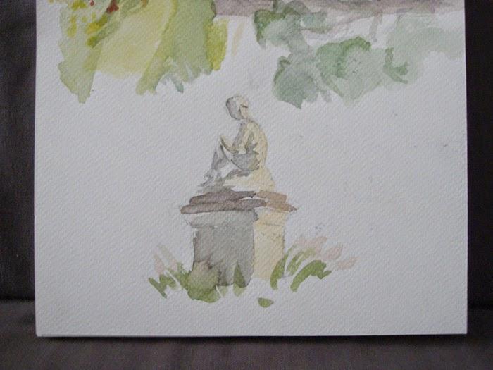 statue aquarelle jardin du luxembourg velkrol