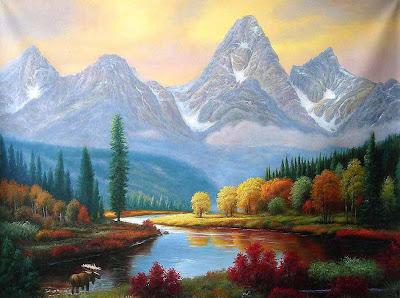 Paisaje en las montañas junto al río