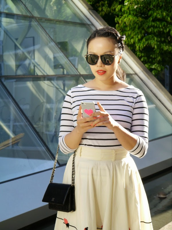 Black and white Breton stripes, full skirt, Karen Walker sunnies, Chanel WOC