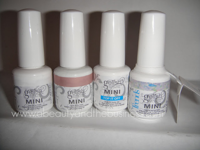 Top It Off gelish, Sheek White gelish, Skinny Vanilla Latte gelish, Trends Rough Around The Edges gelish, gelish polish, One'nOnly developer, One'nOnly hair dye, One'nOnly high lift,